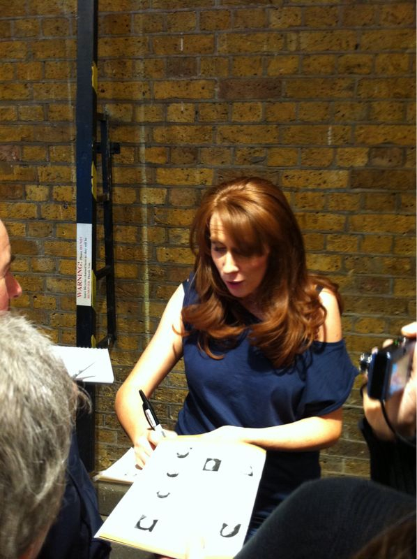 Catherine Tate signing stuff after Much Ado About Nothing.