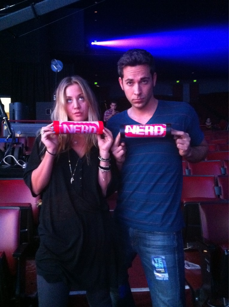 partyinmyeyesocket: tbbt-fans: Me and Zachary Levi nerding it up at teen choice rehearsals (Via: @Ka