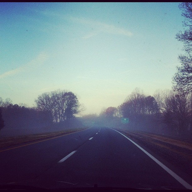 Early morning fog on the drive back to Atlanta. #travel (Taken with instagram)